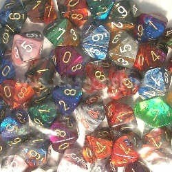Bag of 50 Assorted Loose Speckled Polyhedral D20 Dice