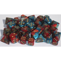 Gemini Polyhedral 7-Dice Set Orange-Steel/Gold