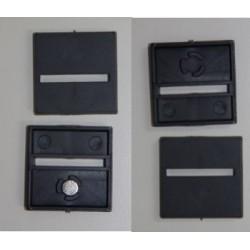 10 bases cuadradas de 25mm con anclaje para imán y ranura horizontal