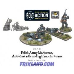 POLISH ARMY MARKSMEN, ANTI-TANK RIFLE & LIGHT MORTAR