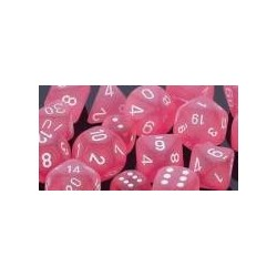 Frosted Pink/white 16mm d6 (12 Dice)