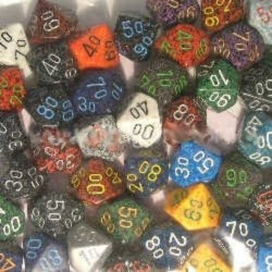 Bag of 50 Asst. Loose Speckled Polyhedral d10 Dice