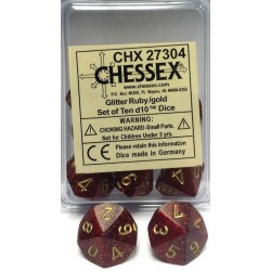 Glitter Polyhedral Gold & Silver d10 dice