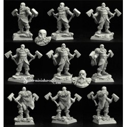 28/30mm Dwarf Blacksmiths 3 Miniatures (3)