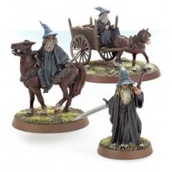 Gandalf the Grey a pie y montado en carro