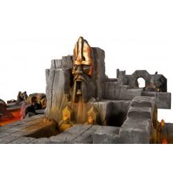 Viking ship hull with figureheads rudder blade, mast and yard