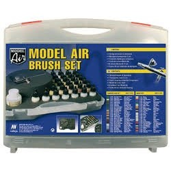 MODEL AIRBRUSH SET, BASIC0S (29) + AEROGRAFO