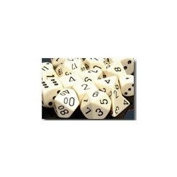Opaque 12mm d6 Ivory/black (36 Dice)