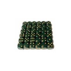 Opaque 12mm d6 Dusty Green/gold (36 Dice)