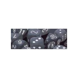 Frosted Smoke/white 16mm d6 (12 Dice)