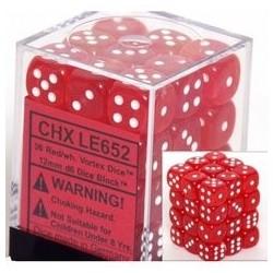 Vortex Dice 12mm d6 Red/white Dice Block (36 dice)
